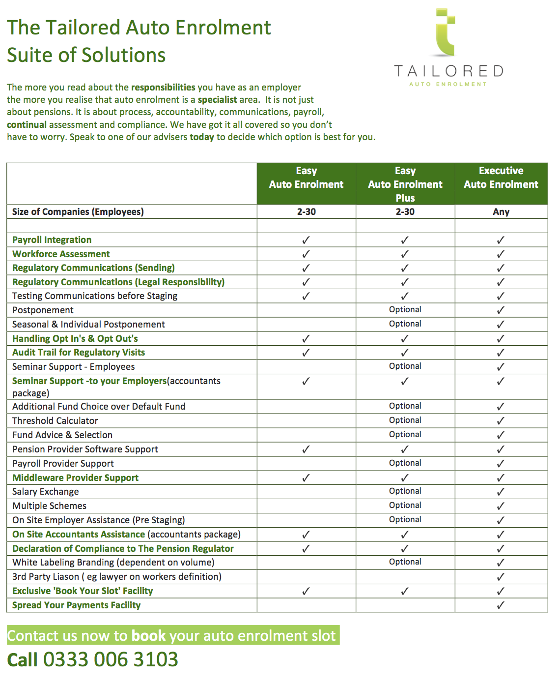New Tailored Auto Enrolment Suite Of Solutions Version 3